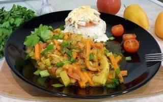 Как потушить кабачки с овощами
