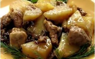 Картошка с мясом и грибами в мультиварке – рецепт