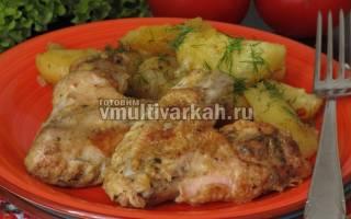 Вкусные крылышки с картошкой в мультиварке